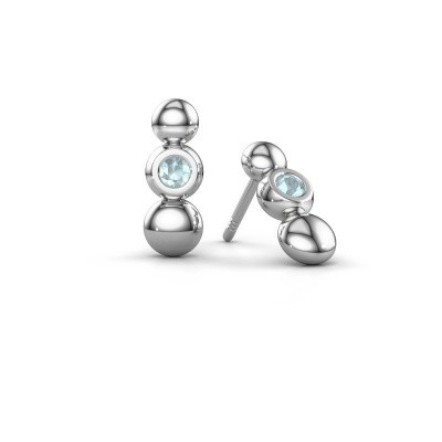 Picture of Earrings Lily 925 silver aquamarine 2.5 mm