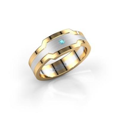 Foto van Heren ring Guido 585 witgoud blauw topaas 2 mm