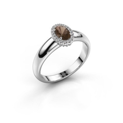Engagement ring Tamie 925 silver smokey quartz 6x4 mm