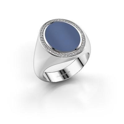 Foto van Zegelring Adam 4 585 witgoud blauw lagensteen 14x11 mm