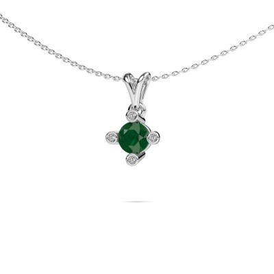 Picture of Pendant Cornelia Round 375 white gold emerald 5.5 mm