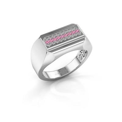 Foto van Heren ring Gerard 585 witgoud roze saffier 1.4 mm