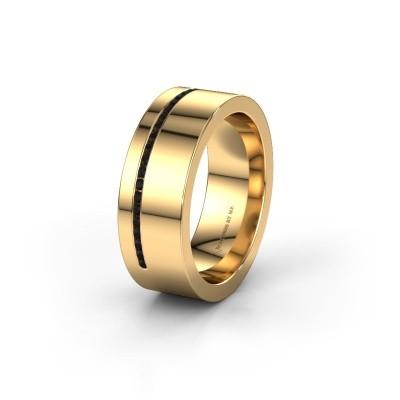 Trouwring WH0143L17BP 585 goud zwarte diamant ±7x2 mm