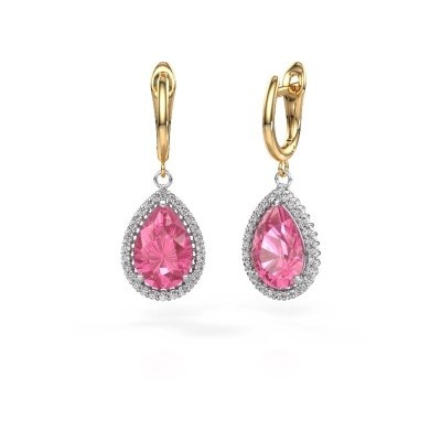 Picture of Drop earrings Hana 1 585 white gold pink sapphire 12x8 mm
