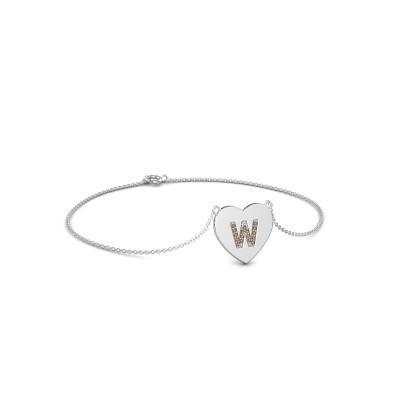 Foto van Armband Initial Heart 750 witgoud bruine diamant 0.07 crt