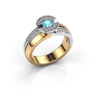 Foto van Ring Jeanet 2 585 goud blauw topaas 4 mm