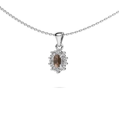 Picture of Necklace Leesa 585 white gold smokey quartz 6x4 mm