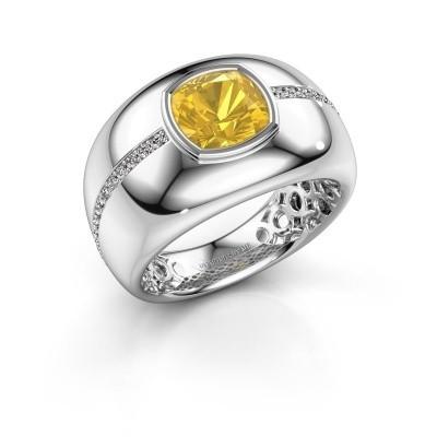 Foto van Ring Sydney 925 zilver gele saffier 7.5 mm