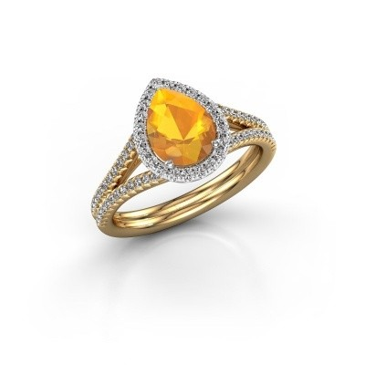 Foto van Verlovingsring Elenore 2 585 goud citrien 8x6 mm