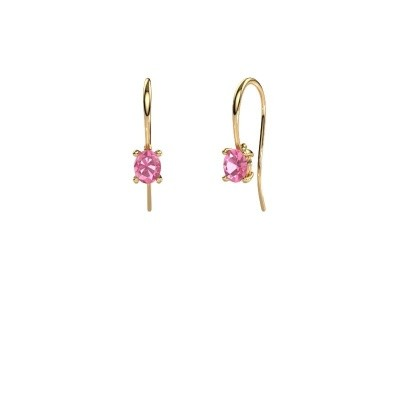 Picture of Drop earrings Cleo 585 gold pink sapphire 6x4 mm