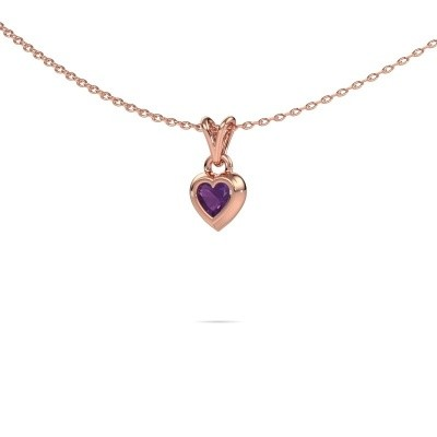 Picture of Pendant Charlotte Heart 375 rose gold amethyst 4 mm