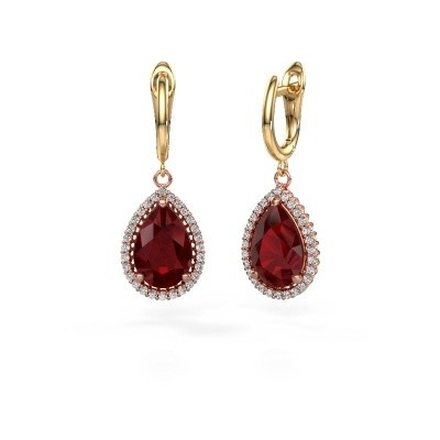 Picture of Drop earrings Hana 1 585 rose gold ruby 12x8 mm