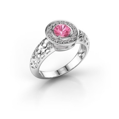 Foto van Ring Katalina 950 platina roze saffier 5 mm