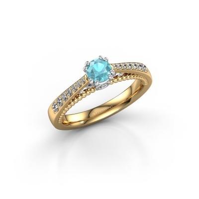 Foto van Verlovingsring Rozella 585 goud blauw topaas 4.2 mm