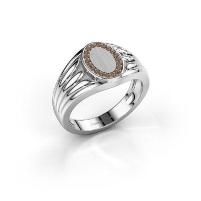 Foto van Pinkring Marinus 950 platina bruine diamant 0.15 crt