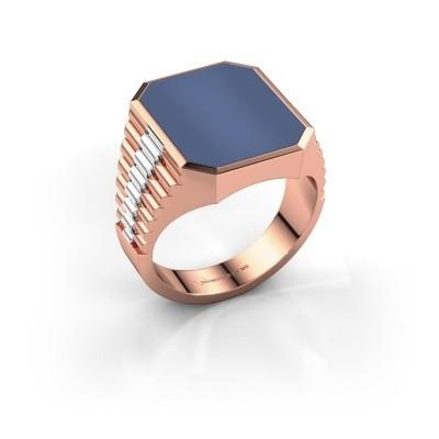 Foto van Rolex stijl ring Brent 4 585 rosé goud blauw lagensteen 16x13 mm