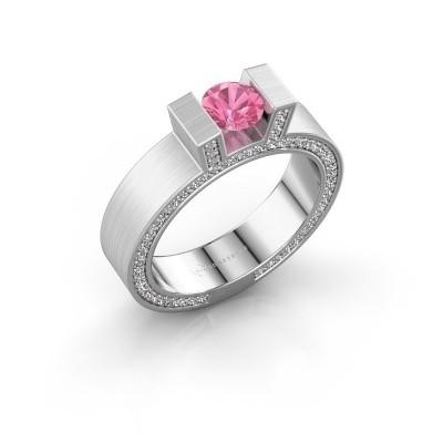 Foto van Ring Leena 2 950 platina roze saffier 5 mm
