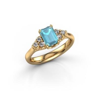 Foto van Aanzoeksring Myrna EME 750 goud blauw topaas 7x5 mm