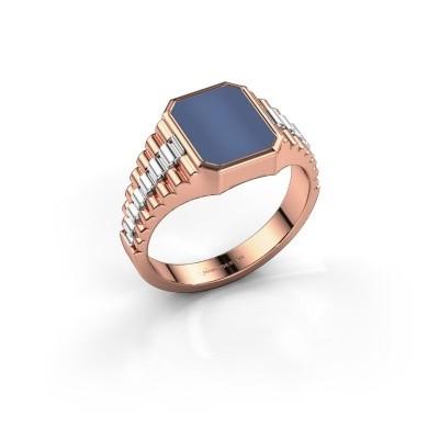 Foto van Rolex stijl ring Brent 1 585 rosé goud blauw lagensteen 10x8 mm