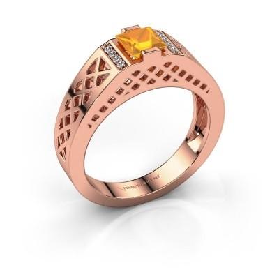 Foto van Heren ring Jonathan 585 rosé goud citrien 5 mm