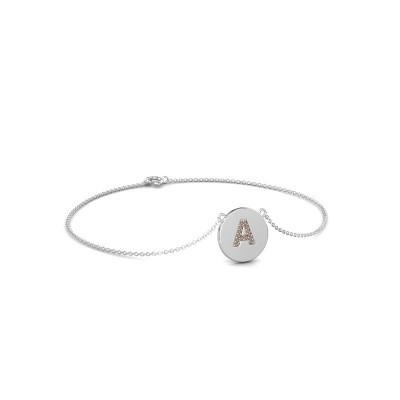 Foto van Armband Initial 050 750 witgoud bruine diamant 0.07 crt