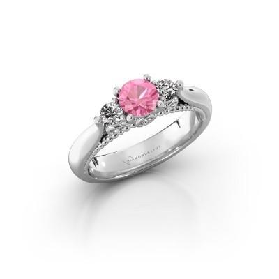 Foto van Verlovingsring Tiffani 925 zilver roze saffier 5 mm