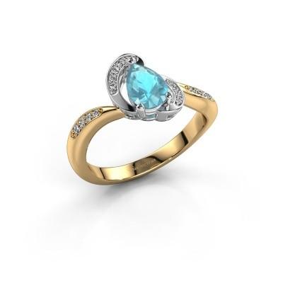 Foto van Ring Jonelle 585 goud blauw topaas 7x5 mm