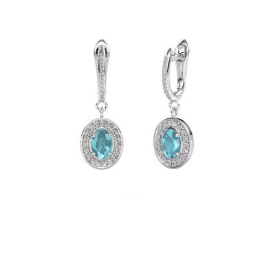 Picture of Drop earrings Layne 2 925 silver blue topaz 7x5 mm