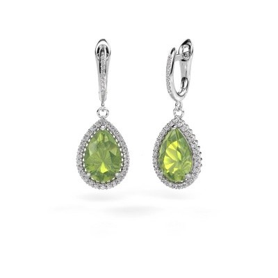 Picture of Drop earrings Hana 2 950 platinum peridot 12x8 mm