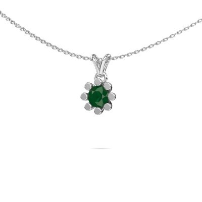Picture of Pendant Carola 1 375 white gold emerald 5 mm