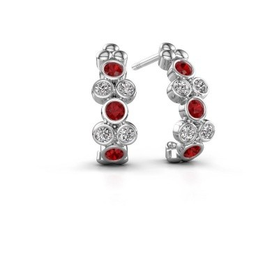 Picture of Earrings Kayleigh 925 silver ruby 2.4 mm