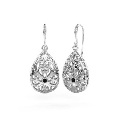 Picture of Drop earrings Idalia 2 585 white gold black diamond 0.117 crt