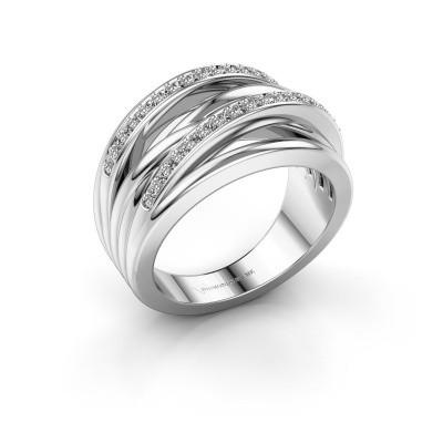 Foto van Ring Annabel 2 585 witgoud zirkonia 1.2 mm