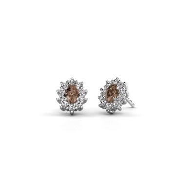 Picture of Earrings Leesa 585 white gold brown diamond 1.60 crt