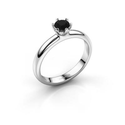 Foto van Verlovingsring Lorretta 375 witgoud zwarte diamant 0.48 crt