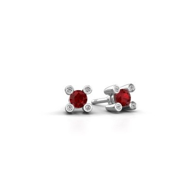 Picture of Stud earrings Fleur 375 white gold ruby 3.7 mm
