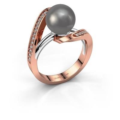Foto van Ring Amber 585 rosé goud grijze parel 9 mm