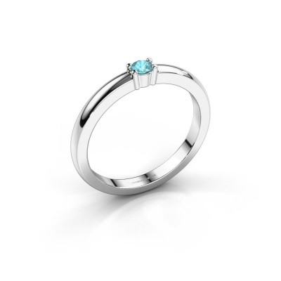 Foto van Promise ring Yasmin 1 585 witgoud blauw topaas 2.7 mm