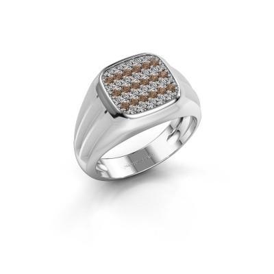 Foto van Pinkring Robbert 950 platina bruine diamant 0.558 crt
