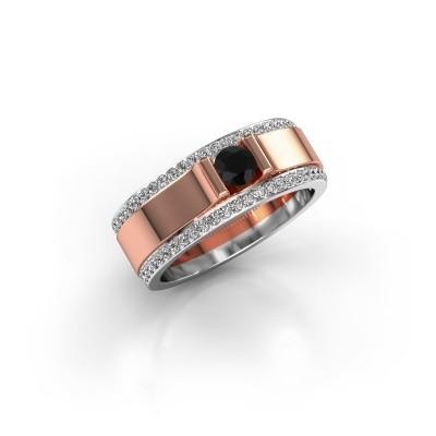Foto van Herenring Danillo 585 rosé goud zwarte diamant 0.765 crt