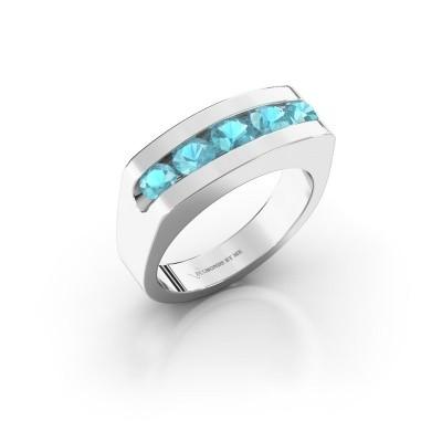 Foto van Heren ring Richard 925 zilver blauw topaas 4 mm