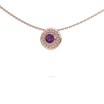 Picture of Necklace Gretta 375 rose gold amethyst 4 mm