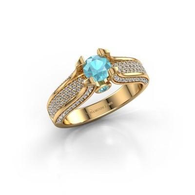 Foto van Verlovingsring Jeanne 2 750 goud blauw topaas 5 mm