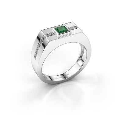 Foto van Heren ring Robertus 2 585 witgoud smaragd 4 mm