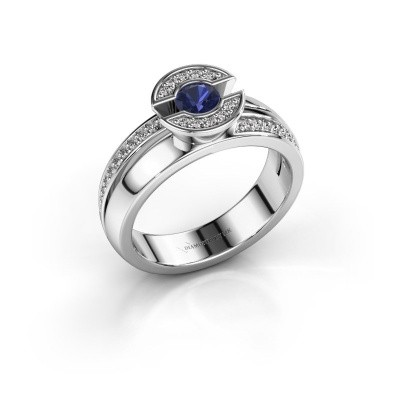 Picture of Ring Jeanet 2 585 white gold sapphire 4 mm