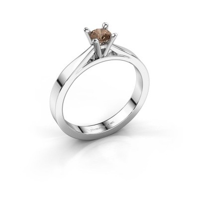 Foto van Aanzoeksring Catrina 585 witgoud bruine diamant 0.25 crt