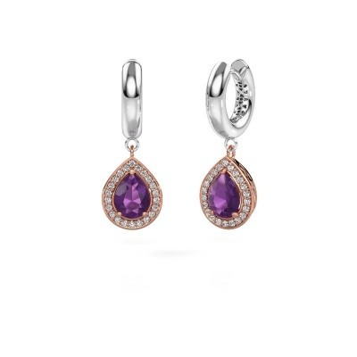 Picture of Drop earrings Barbar 1 585 rose gold amethyst 8x6 mm