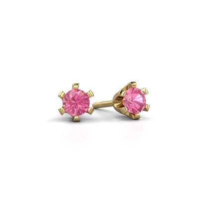 Picture of Stud earrings Shana 375 gold pink sapphire 4 mm