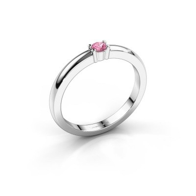 Foto van Promise ring Yasmin 1 585 witgoud roze saffier 2.7 mm