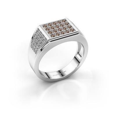 Foto van Heren ring Tim 925 zilver bruine diamant 0.654 crt
